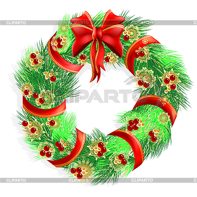 Рождественский венок | Векторный клипарт |ID 3062357
