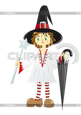 Little witch w czarnym kapeluszu | Klipart wektorowy |ID 3079277