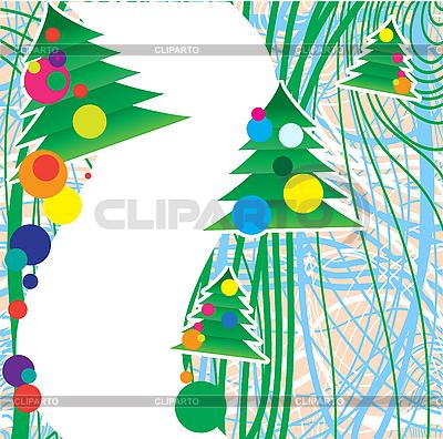 Weihnachtskarte mit Tannen | Stock Vektorgrafik |ID 3078808