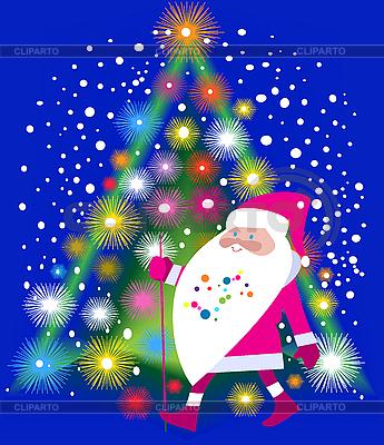 Święty Mikołaj i choinka | Klipart wektorowy |ID 3112246