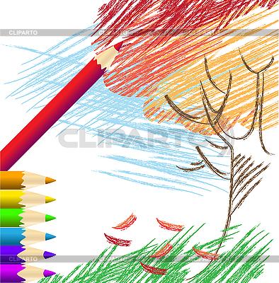 Осенние рисунки цветными карандашами