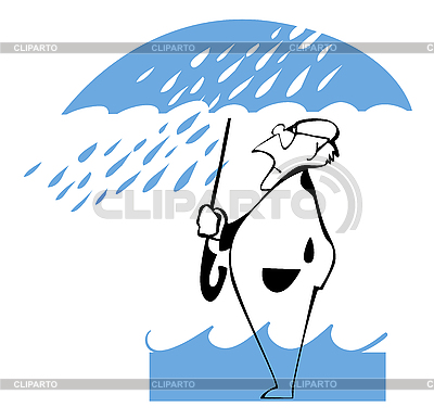 Człowiek pod parasolem | Klipart wektorowy |ID 3140446