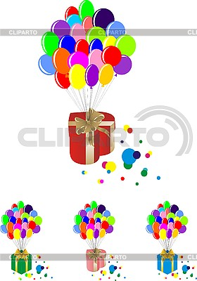 Luftballons mit Geschenkboxen | Stock Vektorgrafik |ID 3059371