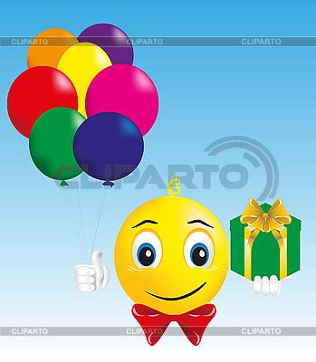 Smiley-Junge mit Geschenk und Luftballons | Stock Vektorgrafik |ID 3059395