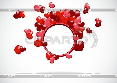 Okrągłe ramki z czerwonym sercem | Klipart wektorowy |ID 3119035