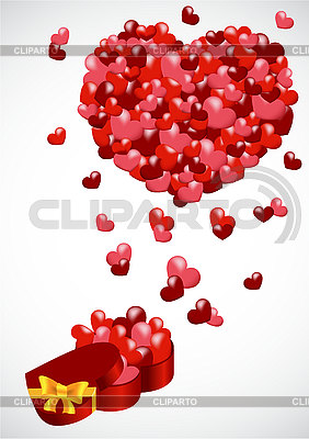 Gift with hearts   Klipart wektorowy  ID 3122949