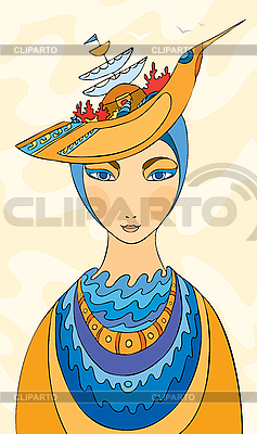 Dziewczyna w kapeluszu w postaci statku | Stockowa ilustracja wysokiej rozdzielczości |ID 3118034