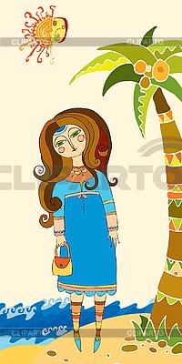 Mädchen unter einer Palme am Strand | Stock Vektorgrafik |ID 3118058