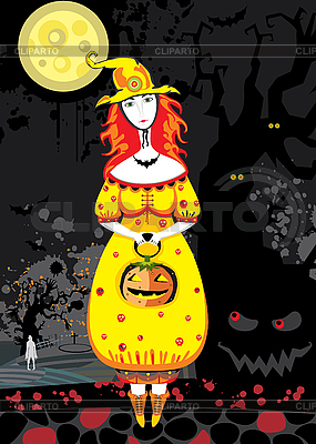 Halloween - Hexe im Friedhof in der Nacht | Stock Vektorgrafik |ID 3118090