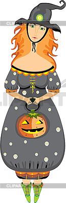 Halloween dziewczyna czarownica | Klipart wektorowy |ID 3118092