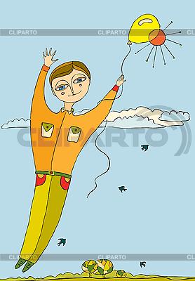 소년 공기 풍선에 날아간 | 벡터 클립 아트 |ID 3123385