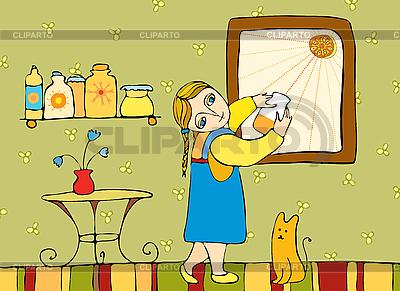 Dziewczyna w pokoju w oknie | Klipart wektorowy |ID 3123427