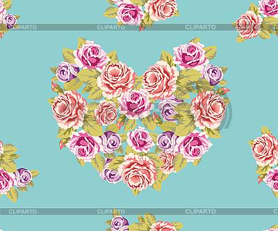 Nahtloser Hintergrund von Herzen aus Rosen | Illustration mit hoher Auflösung |ID 3190594
