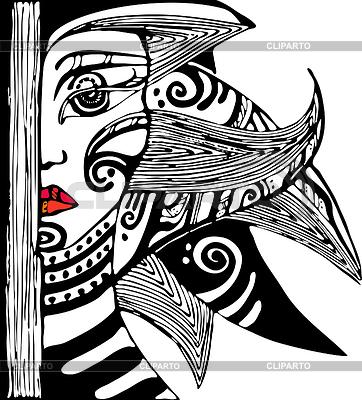 Набор этикеток с лица девушки netopir