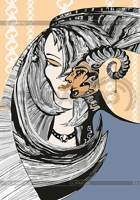Dziewczyna z głową satyra | Klipart wektorowy |ID 3263247