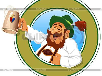 Mann mit vollem Krug Bier | Stock Vektorgrafik |ID 3053122