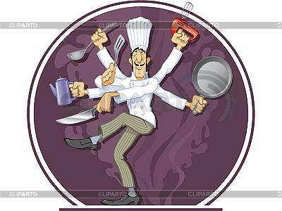 Tanzender Koch mit vielen Händen | Stock Vektorgrafik |ID 3053124