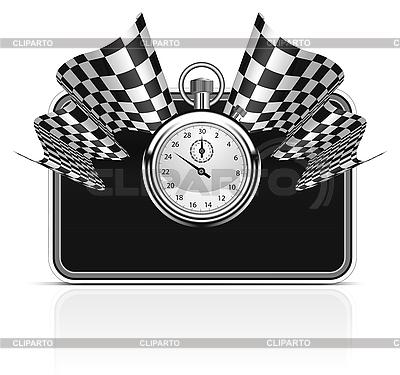 Zielflagge mit Stoppuhr | Stock Vektorgrafik |ID 3143724