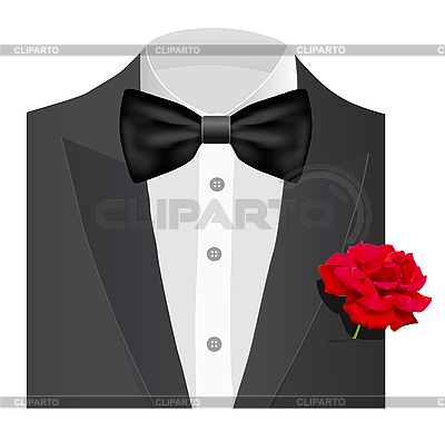 Fliege-Krawatte mit Rose | Stock Vektorgrafik |ID 3143870
