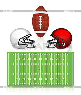 美国橄榄球场,球和头盔 | 向量插图 |ID 3154140