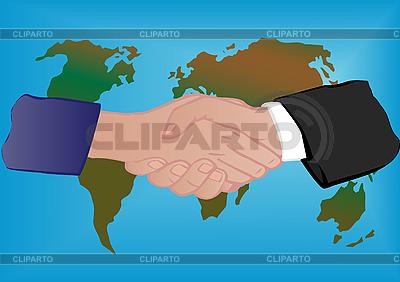 World map and hand shake  | Stockowa ilustracja wysokiej rozdzielczości |ID 3054785