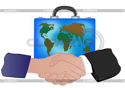 Koffer mit Weltkarte und Händedruck | Illustration mit hoher Auflösung |ID 3054786