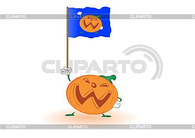Dynia Halloween z flagą | Stockowa ilustracja wysokiej rozdzielczości |ID 3054802