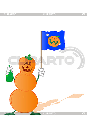 Kürbis zum Halloween als Schneemann mit Flagge und Flasche | Illustration mit hoher Auflösung |ID 3054807