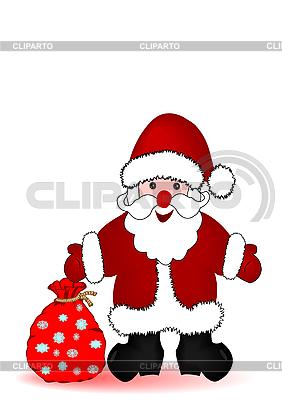 Weihnachtsmann mit einem Sack voll Geschenke | Illustration mit hoher Auflösung |ID 3054810