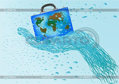 Koffer mit Weltkarte in einer Hand | Illustration mit hoher Auflösung |ID 3054818