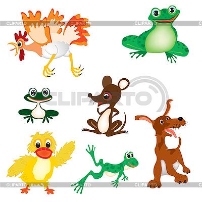 Dzikich i domowych zwierząt kreskówki | Klipart wektorowy |ID 3055592