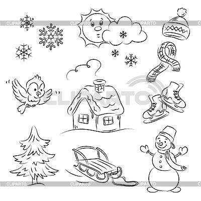 Zestaw zimowy | Klipart wektorowy |ID 3059524