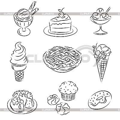 케이크와 아이스크림 | 벡터 클립 아트 |ID 3063073