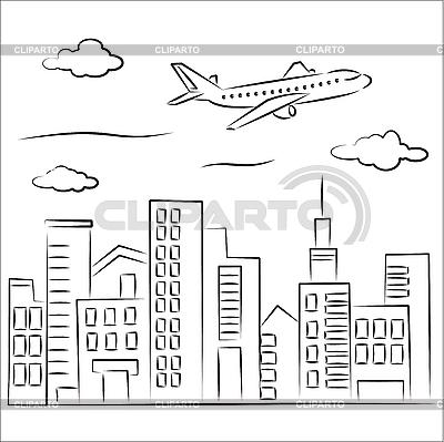 Flugzeug über einer Stadt | Stock Vektorgrafik |ID 3063085