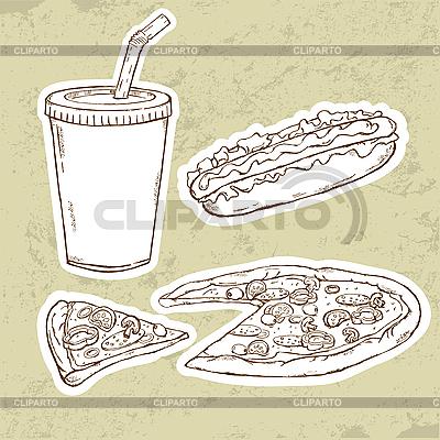 Pizza i Hot Dog | Klipart wektorowy |ID 3081011
