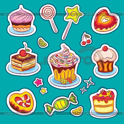 Słodycze wakacyjne Naklejki | Klipart wektorowy |ID 3097346