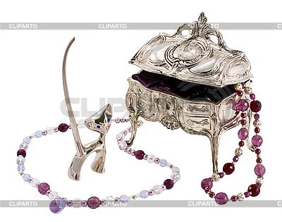 Schatulle, Figur einer Katze und Perlen | Foto mit hoher Auflösung |ID 3067117