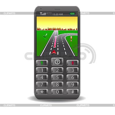 Handy mit GPS und Straßenkarte | Stock Vektorgrafik |ID 3067885
