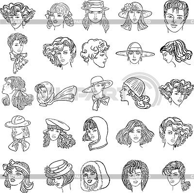 Gesichter von Frauen | Stock Vektorgrafik |ID 3068973