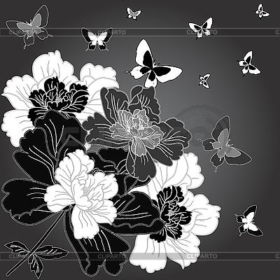 Wzór z motyli kwiat | Klipart wektorowy |ID 3069063