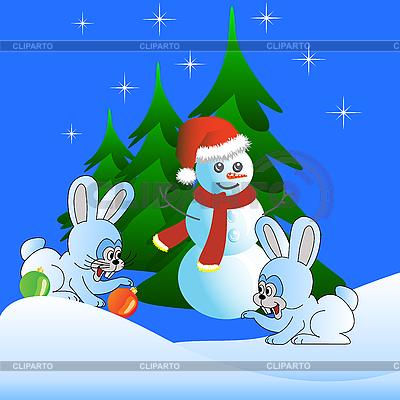 Dwa białe zające i Snowman | Klipart wektorowy |ID 3073980