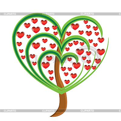 Jabłoń z czerwonych owoców w formie serca | Klipart wektorowy |ID 3075948