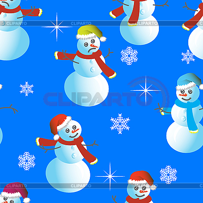 Nahtloser Hintergrund von Schneemännern und Schneeflocken | Stock Vektorgrafik |ID 3099923