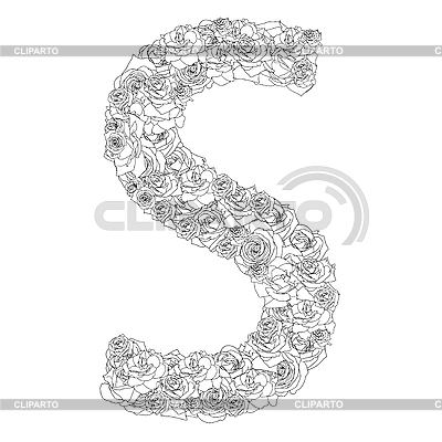 K Letter In Rose Flower alphabet of red roses, letter S - © aarrows