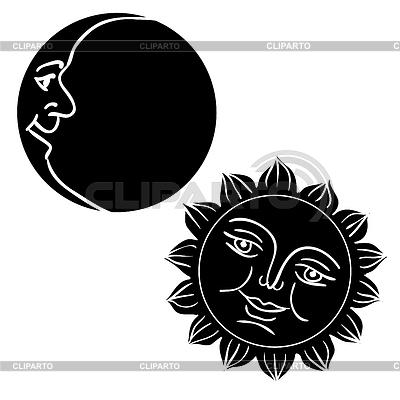 Księżyc i Słońce z twarzy | Klipart wektorowy |ID 3347071