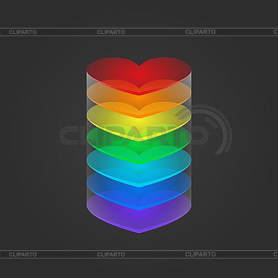 Kolumna tęczy serca | Klipart wektorowy |ID 3089203