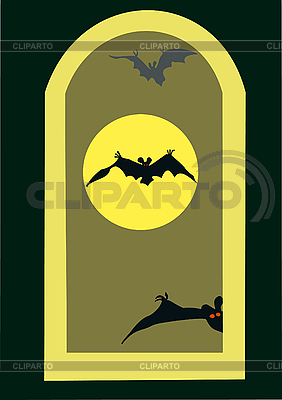 Vollmond und Fledermäuse | Illustration mit hoher Auflösung |ID 3080465