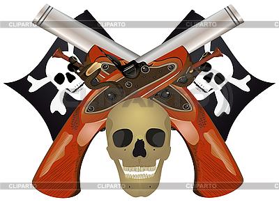 Czaszka z skrzyżowanymi pistolety | Klipart wektorowy |ID 3081756