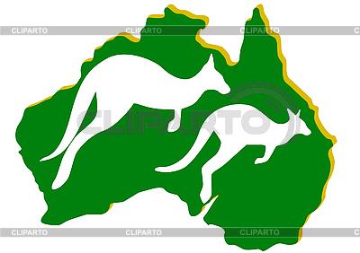 Karte von Australien und Känguruh | Stock Vektorgrafik |ID 3083795