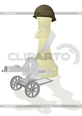 Weiße Schach-Königin mit einem Maschinengewehr | Stock Vektorgrafik |ID 3096918